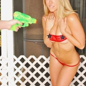 Brooke Marks gets wet in a waterfight