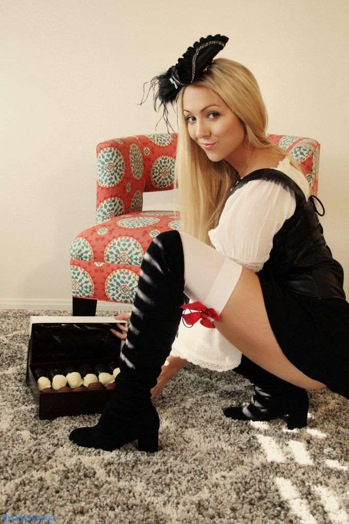 Brooke Marks in leather basque and boots | She Strips