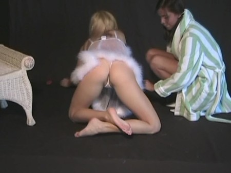 Blonde girl Melanie in a thong