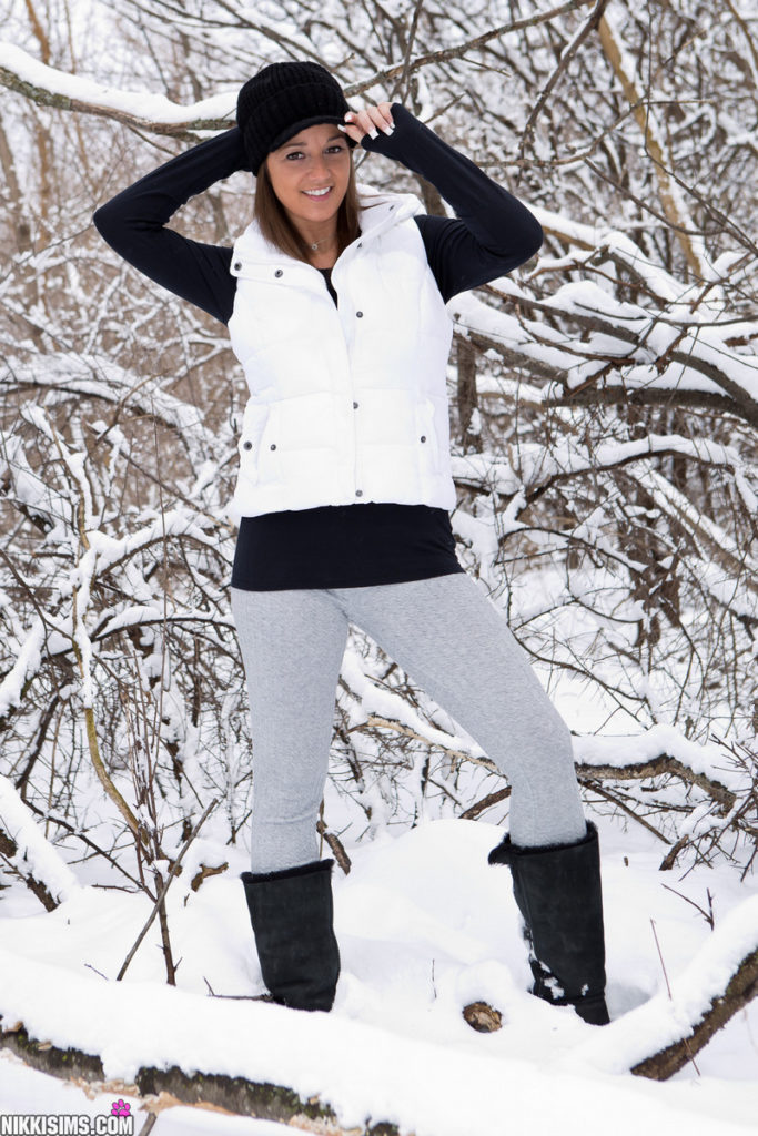 Nikki Sims out in the snow