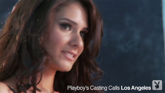 Pretty girl at a Playboy casting call