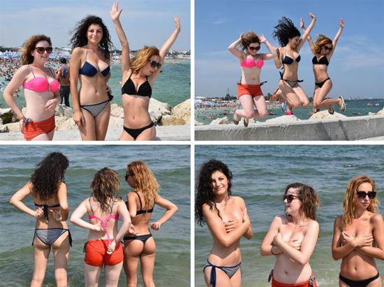 Madalina having fun with her friends in bikinis