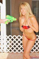 Brooke Marks gets wet in a waterfight