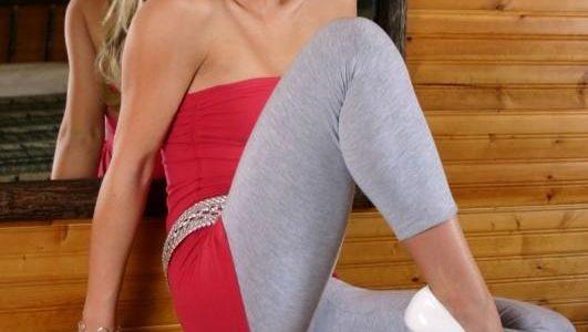 Blonde girl in tight leggings